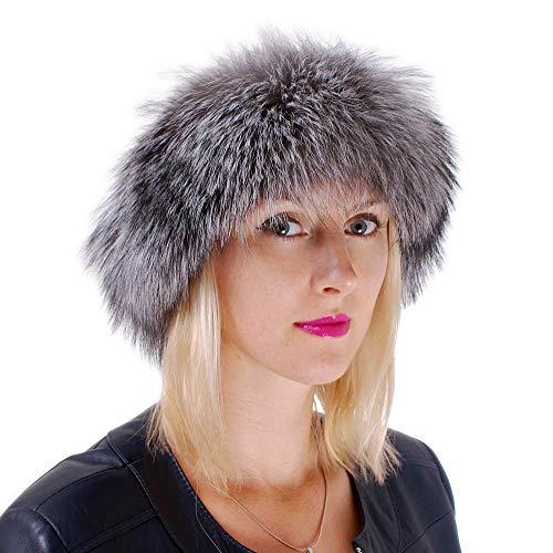 FOX FASHION Pelz Stirnband aus Silberfuchsfell Fell Ski Echtpelz Echtfell Echt Fuchs Silberfuchs Tschapka Schapka Silber Mütze (M)