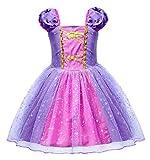 AmzBarley Fille Robe de Princesse Costume Enfant Fête Cosplay Habiller Déguisement Anniversaire Soirée Halloween Carnaval Partie Costumée Violet 4-5 Ans 120