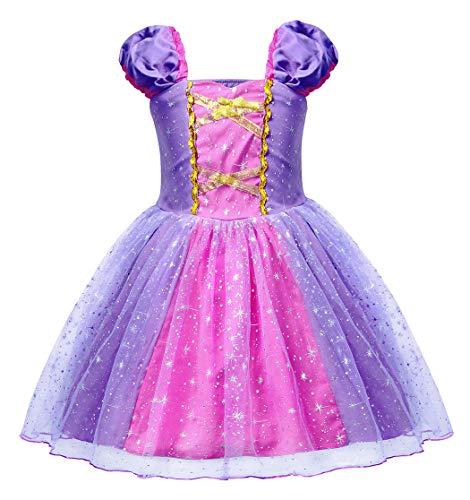 AmzBarley Niñas Princesa Vestirse Vestidos Fiesta Disfraces niños Vestir Fiesta Halloween Cumpleaños Noche Púrpura G74 1-2 años
