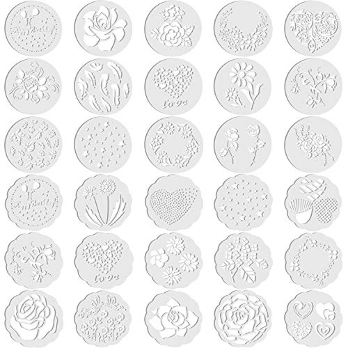 30 Pieces Cake Stencils Decorating Cake Stencil Template Baking Stencil Molds Floral Leaf Spray Cake Stencil for Birthday Wedding Cake Baking Decoration Mold Tool