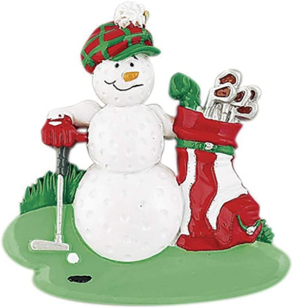 Personalized Golf Ball Golfer Christmas Tree Ornament 2019 Snowman Cap Red Bag Clubs Flag Green Grass Professional Player Member Hobby Caddy Amateur Hit Lover Cylindrical Year Free Customization