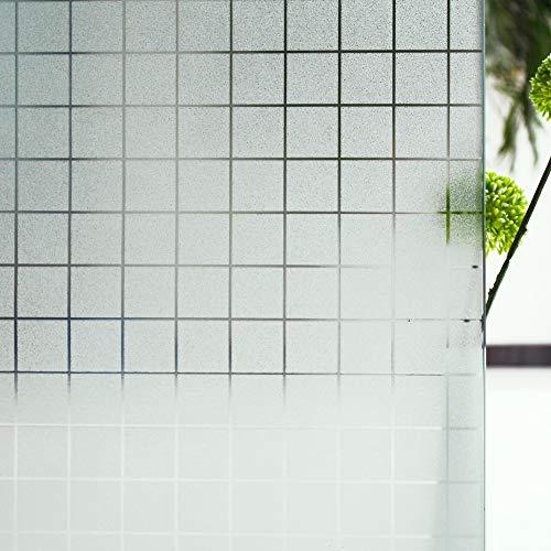 Tamia-Home Homein Milchglasfolie Fensterfolie Milchglas Duschkabinen Blickdicht Folie Fenster Selbstklebend Sichtschutzfolie Sichtschutz Statisch Haftend Glasdekor Quad S004 (60 * 150cm)…