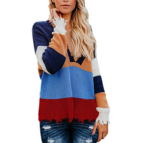 VEZAD Womens Knitted Sweater Multicolor Striple Casual Loose Long Sleeve Pullover