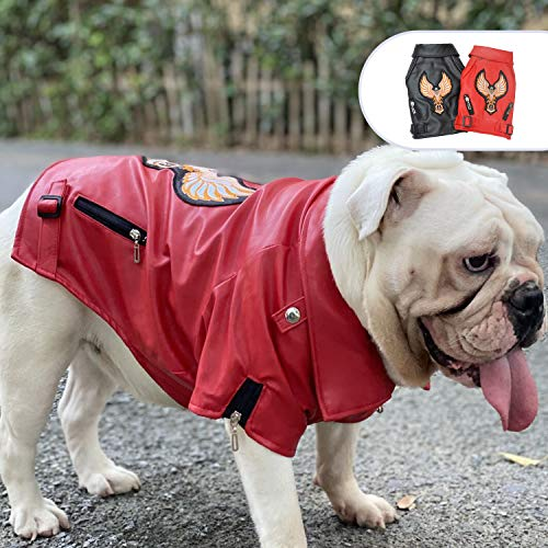 lovelonglong Hundelederjacke, Luxus Winter Hund Warmer Mantel mit weichem Baumwollfutter und Adler Muster,Wasserdicht Atmungsaktive Jacke für Englische Bulldogge Hunde Red B-L
