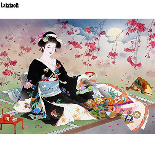Mssdezb DIY 5D Volledige Diamant Schilderen Japan Vrouw Geisha Kimono Sakura Borduurwerk Mozaïek Cross Stitch Stickers Muur 40X50Cm(16X20Inch)