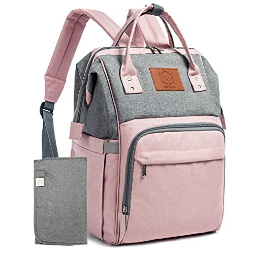 keababies Mochila para pañales - bolsa de viaje para bebés impermeable y multifunción para mamá,papá, hombres y mujeres - Bolsas de maternidad grandes para pañales - Duradera y elegante (Pink Gray)
