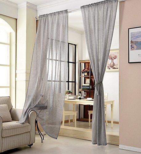 WOLTU® VH5859dgr, Gardinen transparent mit Kräuselband Leinen Optik, Vorhang Stores Voile lichtdurchlässig Fensterschal Dekoschal für Wohnzimmer Schlafzimmer, 140x245 cm, Grau, (1 Stück)