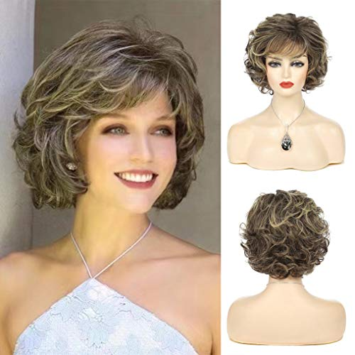 Beweig Womens Short Curly Wavy Mixed Brown Wigs Layered Synthetic Cosplay Heat Resistant Costume Wig with Bangs