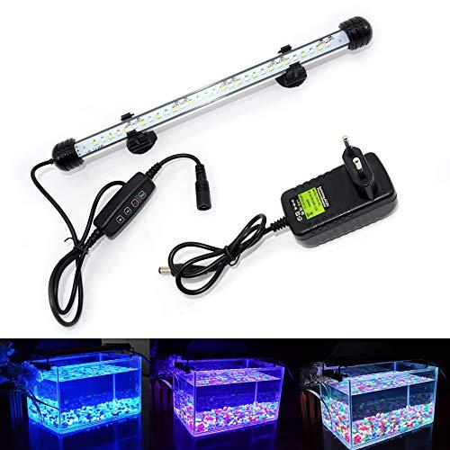 VARMHUS LED Aquarium Beleuchtung, Aquarium Lampe Weiß und Blau Farbwechsel Tauch Aquarium Licht mit kleinen einfachen Aquarium Zeitschaltuhr für Sonnenaufgang und Sonnenuntergang (28cm, Weiß + Blau)