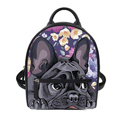 UNICEU Fashion Mini Backpack French Bulldog Print Lightweight Shoulder Knapsack Shopping Casual Daypack