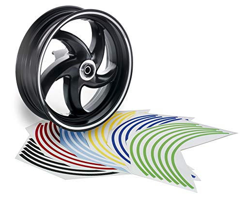 Opticparts DF Felgenrandaufkleber Felgenband für Motorroller und Motorrad, 11-14 Zoll, (Grün)