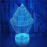 FREEZG 3D LED Luz de noche Helado comida creatividad 3D LED ilusión escritorio lámpara de mesa decoración del partido del hogar multicolor de noche festival de niños dibujos animados juguete de Navid