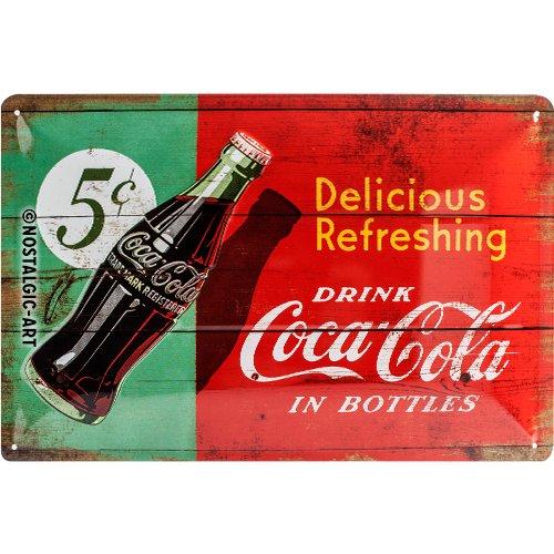 Nostalgic Art Coca-Cola – Delicious Refreshing – Geschenk-Idee für Coke-Fans Blechschild 20x30 cm, aus Metall, Bunt, 20 x 30 cm