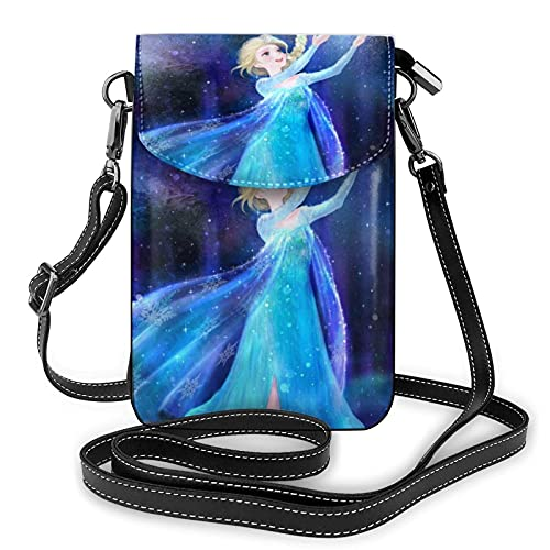 XCNGG Women's Small Crossbody Bag with Shoulder Strap,Elsa Catches The Snow in her Hands Small Cell Phone Purse Wallet with Credit Card Slots