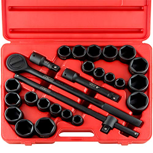 """Neiko 02499A 3/4"""" Drive Jumbo Master Impact Socket Set, 27 Piece Shallow Socket Assortment   Standard SAE and Metric Sizes (7/8-Inch to 2-Inch and 22-50 mm)   Cr-V Steel"""
