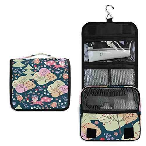 Kulturbeutel zum Aufhängen, Cartoon-Wald, Fuchs, süße Blumen, Kosmetiktasche für Frauen, Mädchen, Multifunktions-Reisetasche, Kulturbeutel