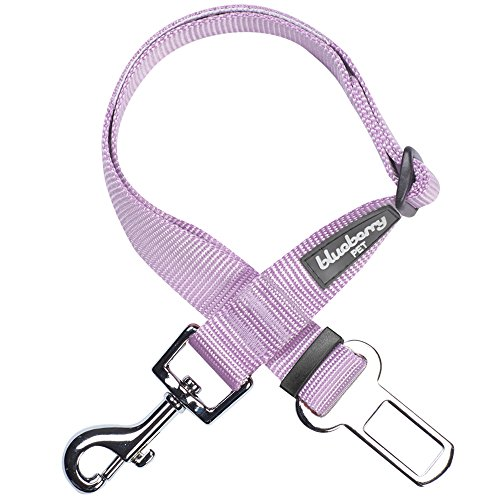 Blueberry Pet Essentials 19 Colors Classic Dog Seat Belt Tether for Dogs Cats, Lavender, Durable Safety Car Vehicle Seatbelts Leads Use with Harness