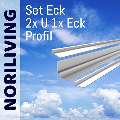 Noriliving Aluminium Profil Set für 3mm und 4mm Aluverbund Duschrückwand (Silber matt) - bestehend aus 2x Abschlussprofil und 1x Eckprofil