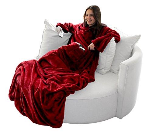 Brandsseller Flauschige TV-Decke mit Ärmeln in Cashmere Feeling - Fußsack & 2 Taschen - Kuscheldecke Tagesdecke - (170 x 200 cm, Rot)