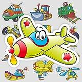 Juguete avión tren coche dibujos animados linda maleta portátil teléfono móvil guitarra monopatín pegatinas impermeables 16 hojas