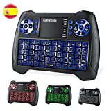 Foto ANEWKODI Mini Tastiera Wireless con Touchpad Keyboard Retroilluminata Portatile con 7 Colori Combo Ricaricabile per Smart TV, Android TV Box, HTPC, IPTV, XBOX360, PS3, PC, ECC. (T16-ES)