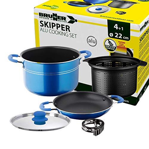 Brunner: Camping Kochgeschirr Alu-Topfset (Töpfe und Pfannen) - 4+1 teilig ø 22 cm Skipper - 4 Personen, Stapelbar, Antihaft, Leicht, Hochwertig