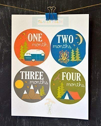 12 Pack Camping and Adventure Monthly Baby Stickers Baby Boy, Available for 0-12 Months or 12-24 Months