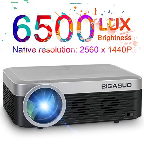 """2K Projector, BIGASUO Full HD Projector 6500 Lumens HDMI Projector with 300"""" Compatible with TV Stick, HDMI, VGA, USB, SD Card, Laptop, Smartphone for Home/Business Use PowerPoint Presentation"""