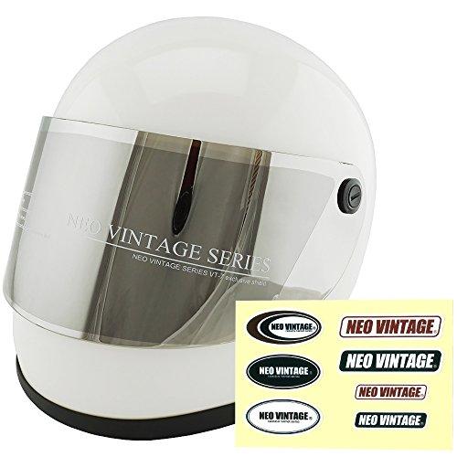 NEO VINTAGE レトロ族ヘルタイプ フルフェイス SG規格品 ステッカー付 [ホワイト×シルバーミラーシールド 白 Lサイズ:59-60cm対応] VT-7 バイクヘルメット