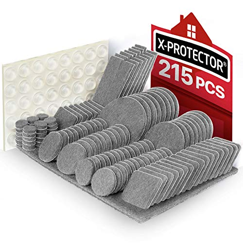 Furniture Pads 215 pcs X-PROTECTOR Felt Furniture Pads - Furniture Floor Protectors Felt Pad –Premium Furniture Felt Pads - Chair Leg Floor Protectors Felts Furniture Feet +64 Rubber Bumpers Pads