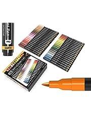 TOOLI-ART 36 acrylstiften, huid- en aardetinten, set stiften van 0,7 mm, extra dunne punt om op stenen, canvas en andere oppervlakken te schrijven/tekenen. Niet giftig, snel droog.