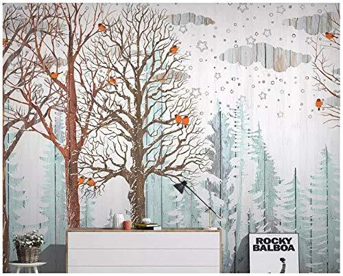 ZZXIAO Wallpaper-Nordic Forest Pine Forest Bird Wood Grain Wood-TV Background Wall-Home Decoration mural-3d Sala de estar para cocina Decoración Fotomural sala Pared Pintado Papel tapiz-350cm×256cm