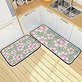 Mnsruu Alfombra de cocina rosa floral 2 piezas alfombras de...