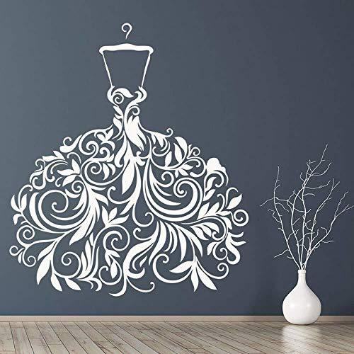 Wandaufkleber Brautkleid Hochzeitskleid Schaufenster Dekoration Vinyl Aufkleber Tattoo Tapeten Wandkunst Aufkleber Dekor 57x65cm
