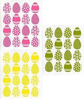 Jangneus Swedish Dishcloth/Sponge Cloth Eco-Friendly/Compostable Herb Garden Designs (3-Pk Mini Eggs (1 Each Green/Yellow/...