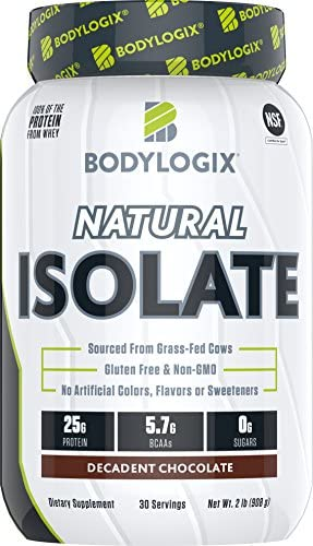 Bodylogix Natural Whey Isolate Protein Powder NSF Certified for Sport Decadent Chocolate 2 Pound product image