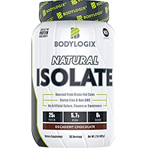 Bodylogix Natural Whey Isolate Protein Powder, NSF Certified for Sport, Decadent Chocolate, 2 Pound
