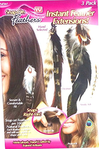 As Seen on Tv 3 Pack Snap-on Feathers Extensions - NEW!