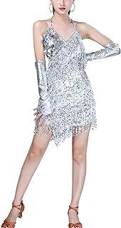 TiaoBug Femme Asym/étrique Robe de Danse Latine Robe /à Paillettes Franges Robe de Zumba Rumba Chacha Tango Danse Costume Robe de Bal Robe de Soir/ée Bretelle Robe Performance