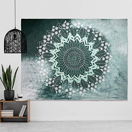 Tapiz de pared con mandala, estilo indio, bohemio, azul y gris, estilo hippie, decoración de pared, para salón, dormitorio, dormitorio, 150 x 130 cm
