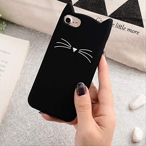para iPhone 6 6S 7 8 Plus 5S SE 5C Pareja Funda Blanda Love Heart Glitter Stars Luck Cat Funda Dynamic Liquid Quicksand Funda para iPhone 5 Negro