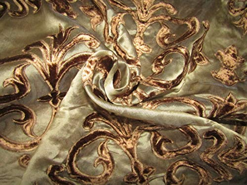 TheFabricFactory Seda organza color marrón con bordado de terciopelo