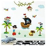 Little Deco Kinderzimmer Aufkleber Affen Pirat I 115 x 95 cm (BxH) I Piratenschiff Wandtattoo Wandaufkleber Junge Tiere Deko Babyzimmer Baby Wandsticker DL206-20