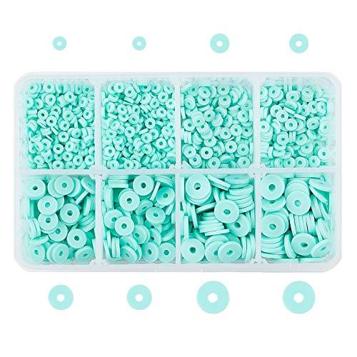 PandaHall Heishi - 2850 cuentas de arcilla polimérica redondas hechas a mano con 3 4 6 8 mm, para pendientes hawaianos, tobilleras, collares, joyas, surfistas, color azul