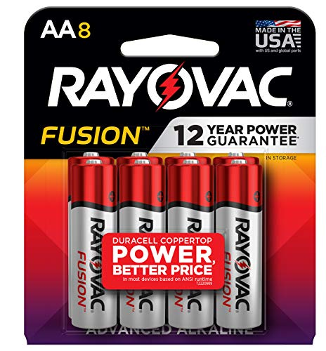 Rayovac Fusion AA Batteries, Premium Alkaline Double A Batteries (8 Battery Count)