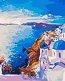 MILEADER Pintar por Numeros DIY Pintura al óleo Kit para Adultos Niños, 16 * 20 Pulgadas Kit de Pintura por Números - Santorini (Sin Marco)