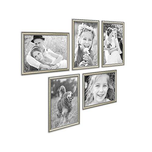 PHOTOLINI 5er Bilderrahmen-Collage Silber Barock Antik 21x30 cm DIN A4 aus Kunststoff inklusive...