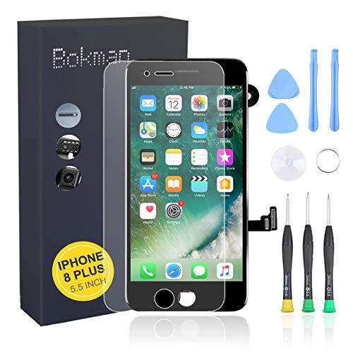 bokman voor iPhone 8 Plus Zwart Scherm LCD Touchscreen Volledige Montage met Camera aan de Voorkant, Luistergedeelte Spreker en Afschermplaat
