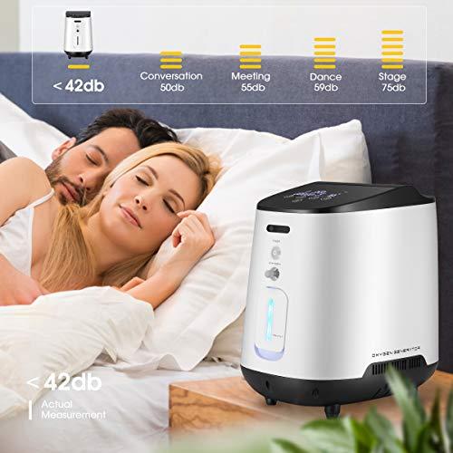 Inlovearts Concentrador de oxígeno portátil para el hogar y los viajes. 1-5L / min Generadores de máquinas de oxígeno ajustables 93% de alta pureza Máquina concentradora de O2 para el hogar