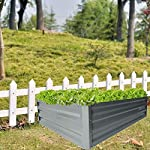 """zizin Galvanized Raised Garden Beds Kits Metal Elevated Planter Box Steel Vegetable Flower Bed Kit Bottomless for… 10 Anti-rust Galvanized Steel Planter Box: Metal raised garden bed Kit can stand the test of outdoor environment and time, not perishable and durable. Open-Bottom Garden Beds: Vegetable planter box prevents water from building up at its base,the root system of plants can grow naturally without any other restriction. Size: 47.2""""x35.4""""x11.8"""" (LxWxH), raised bed holds about 11 cubic feet soil, give the plants plenty of room to grow."""